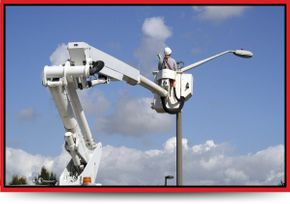 Light Poles & Aerial Services - bucket truck with electrical contractor