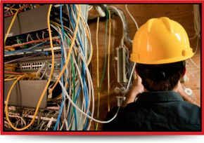 Commercial Business Electrical Work - electrician and wires